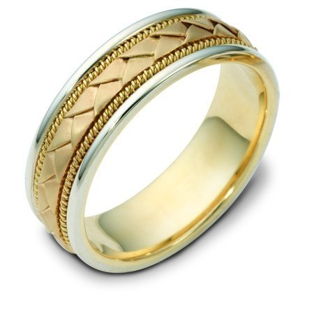 Item # 110021E - 18 kt hand made comfort fit Wedding Band 7.0 mm wide. The center of the band has a handcrafted braid with a handmade rope on each side of the braid. The center of the ring has a brush finish and the edges are polished. Different finishes may be selected or specified.