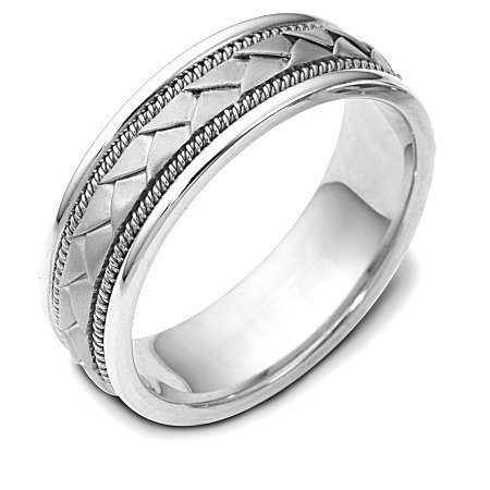 Item # 110021W - 14 kt hand made comfort fit Wedding Band 7.0 mm wide. The center of the band has a handcrafted braid with a handmade rope on each side of the braid. The center of the ring has a brush finish and the edges are polished. Different finishes may be selected or specified.