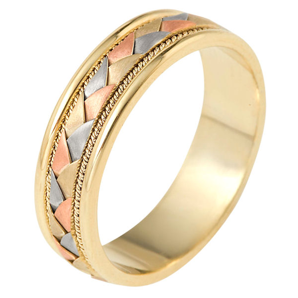Item # 110031E - 18 kt tri-color hand made comfort fit Wedding Band 7.0 mm wide. The center of the band has a handcrafted braid with a handmade rope on each side of the braid. The center of the ring has a brush finish and the edges are polished. Different finishes may be selected or specified.