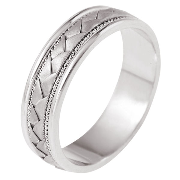 Item # 110031WE - 18kt, white gold, hand made, braided, comfort fit Wedding Band 7.0 mm wide. The center of the band has a handcrafted braid with a handmade rope on each side of the braid. The center of the ring has a brush finish and the edges are polished. Different finishes may be selected or specified.