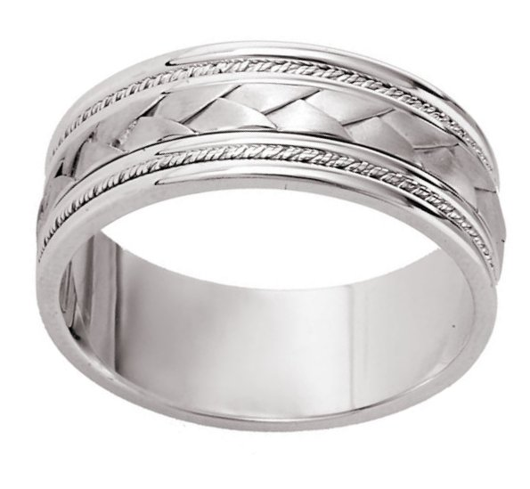Item # 110041PD - Palladium Hand Crafted Wedding Band View-2