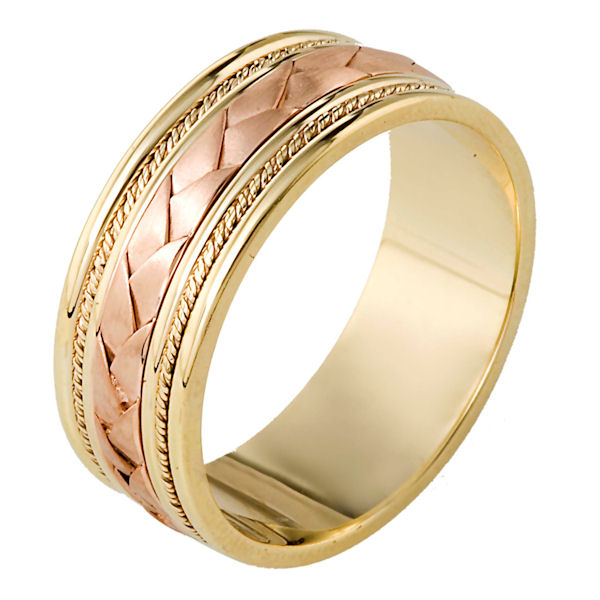 Item # 110041E - 18 kt kt Yellow and Rose Gold center weave hand made comfort fit Wedding Band 9.0 mm wide. The center of the band has a handcrafted braid and handmade ropes on each side. The center has a brush finish and the edges are polished. Different finishes may be selected or specified.