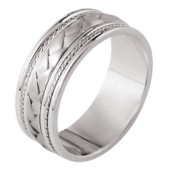 Item # 110041W - 14 kt white gold hand made comfort fit Wedding Band 9.0 mm wide. The center of the band has a handcrafted braid and handmade ropes on each side. The center has a brush finish and the edges are polished. Different finishes may be selected or specified.