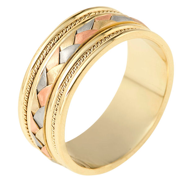 Item # 110051 - 14 kt tri-color hand made comfort fit Wedding Band 9.0 mm wide. The center of the band has a handcrafted braid and handmade ropes on each side. The center has a brush finish and the edges are polished. Different finishes may be selected or specified.