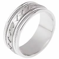 Wedding Band 14kt white gold Braided