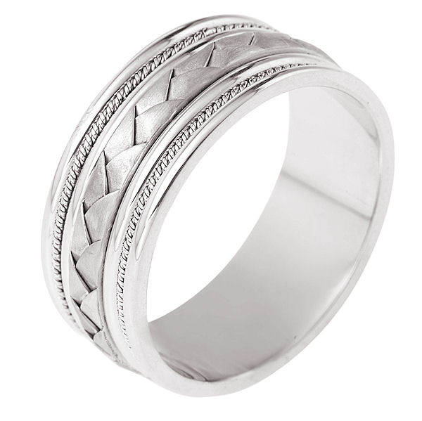 Item # 110051WE - 18kt white gold, hand made, braided, comfort fit Wedding Band 9.0 mm wide. The center of the band has a handcrafted braid and handmade ropes on each side. The center has a brush finish and the edges are polished. Different finishes may be selected or specified.