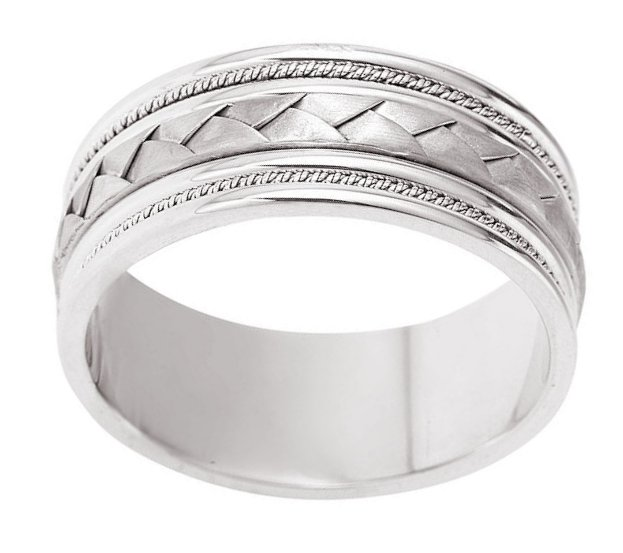 Item # 110051W View 2 - Wedding Band 14kt white gold Braided