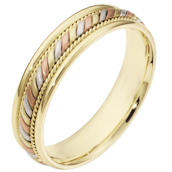 Item # 110061 - 14 kt tri-color hand made comfort fit, 5.0 mm wide wedding band. The center has a beautiful handmade rope design and smaller ropes on each side. The center portion has a brush finish and the edges are polished. Different finishes may be selected or specified.