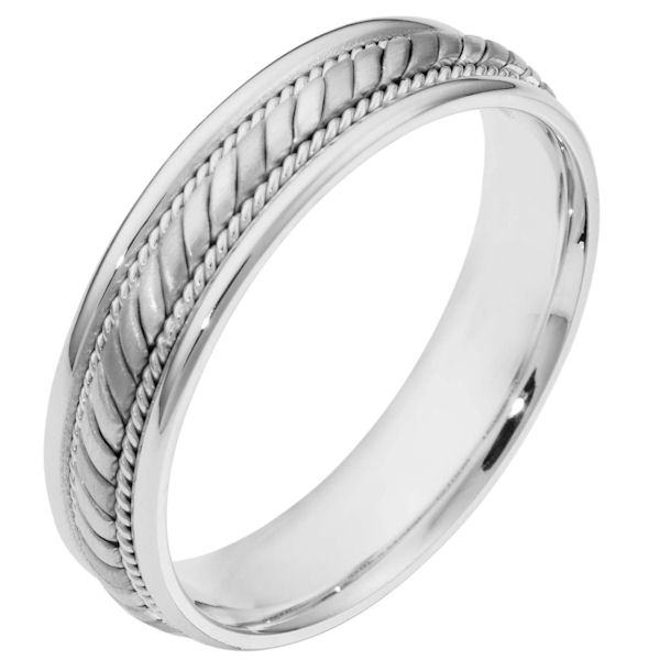 Item # 110061WE - 18 kt white gold, hand made, comfort fit, 5.0 mm wide wedding band. The center has a beautiful handmade rope design and smaller ropes on each side. The center portion has a brush finish and the edges are polished. Different finishes may be selected or specified.