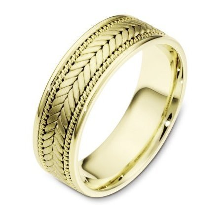 Item # 110071E - 18 kt Hand made comfort fit Wedding Band 7.0 mm wide. The center has a beautiful handmade braid design that has a brush finish. The edges are polished. Different finishes may be selected or specified.