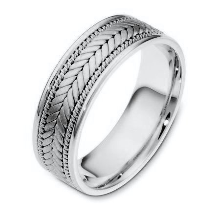Item # 110071PD - Palladium hand made comfort fit Wedding Band 7.0 mm wide. The center has a beautiful handmade braid design that has a brush finish. The edges are polished. Different finishes may be selected or specified.