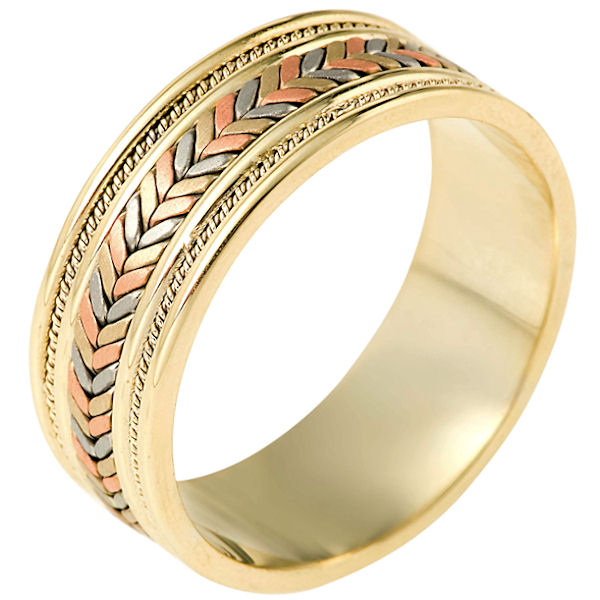 Item # 110081E - 18 kt hand made comfort fit Wedding Band 9.0 mm wide. The ring has a combination of beauitful handmade braids and ropes. The center has matte finish and the edges are polished. Different finishes may be selected or specified.