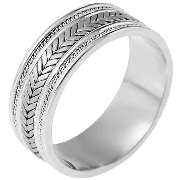 Item # 110081PP - Platinum hand made comfort fit Wedding Band 9.0 mm wide. The ring has a combination of beauitful handmade braids and ropes. The center has matte finish and the edges are polished. Different finishes may be selected or specified.