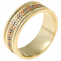 Hand Made 14kt tricolorBraided Wedding Band