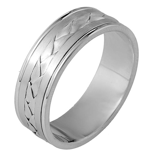 Item # 110091PP - Platinum hand made comfort fit Wedding Band 7.0 mm wide. The ring has a hand made braid in the center that has a brush finish. The separate pieces next to the braid are matte finish and the edges are polished. Different finishes may be selected or specified.