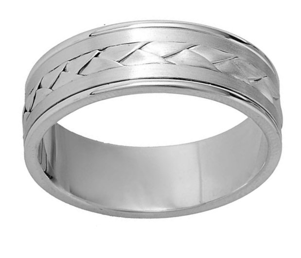 Item # 110091PP View 2 - Platinum Hand Made Wedding Band