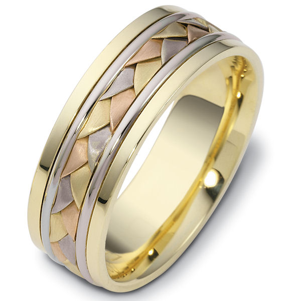 Item # 110101 - 14 kt hand made comfort fit Wedding Band 7.0 mm wide. The ring has a hand made braid in the center that has a brush finish. The rest of the band has a polished finish. Different finishes may be selected or specified.