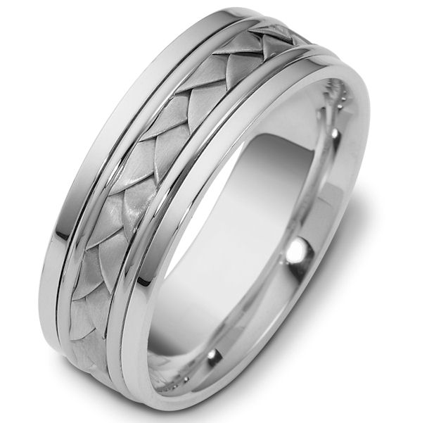 Item # 110101W - 14 kt hand made comfort fit Wedding Band 7.0 mm wide. The ring has a hand made braid in the center that has a brush finish. The rest of the band has a polished finish. Different finishes may be selected or specified.
