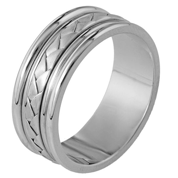 Item # 110111PP - Platinum hand made comfort fit Wedding Band 8.5 mm wide. The ring has a hand made braid in the center that has a matte finish. The rest of the ring has a polished finish. Different finishes may be selected or specified.