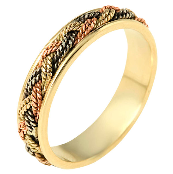 Item # 110131 - 14 kt tri-color hand made comfort fit Wedding Band 5.0 mm wide. The ring has a beautiful hand made braid in the center. The whole ring has a polished finish. Different finishes may be selected or specified.