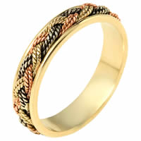 Item # 110131E - Tri-Color 18 kt Hand Made Wedding Band