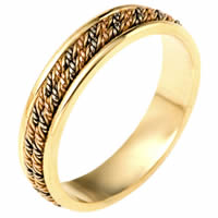 Item # 110141E - Tri-Color Wedding Band 18 kt Hand Made