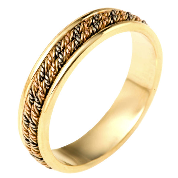 Item # 110141E - 18 kt Tri-color braid hand made comfort fit Wedding Band 5.0 mm wide. The ring has two ropes intricately hand made braids in the center. The ring has a polished finish. Different finishes may be selected or specified.
