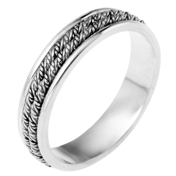 Item # 110141PP - Platinum hand made comfort fit Wedding Band 5.0 mm wide. The ring has two ropes intricately hand made braids in the center. The ring has a polished finish. Different finishes may be selected or specified.