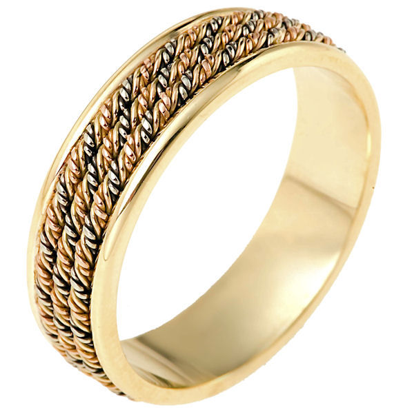 Item # 110151 - 14 kt hand made comfort fit Wedding Band 6.5 mm wide. The ring has three ropes intricately hand made braids in the center. The ring has a polished finish. Different finishes may be selected or specified.