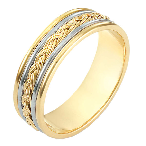 Item # 110161E - 18 kt two-tone hand made comfort fit Wedding Band 7.0 mm wide. The ring has a hand made polished braid in the center. The whole ring has a polish finish. Different finishes may be selected or specified.
