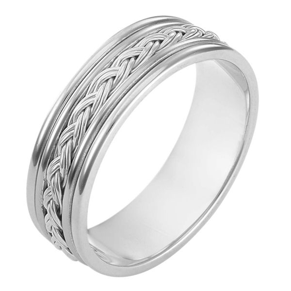 Item # 110161WE - 18 kt white gold, hand made comfort fit Wedding Band 7.0 mm wide. The ring has a hand made polished braid in the center. The whole ring has a polish finish. Different finishes may be selected or specified.