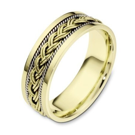 Item # 110171E - 18 kt two-tone hand made comfort fit Wedding Band 7.0 mm wide. There is a hand made braid in the center of the band and one hand crafted rope on each side of the braid. The whole ring has a polished finish. Different finishes may be selected or specified.