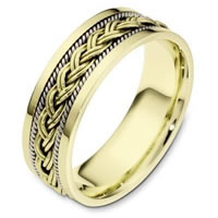 Item # 110171E - 18 kt Hand Made Two-Tone Wedding Band