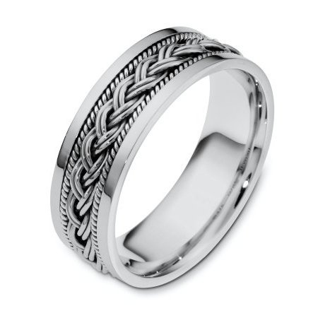 Item # 110171W - 14 kt white gold, hand made comfort fit Wedding Band 7.0 mm wide. There is a hand made braid in the center of the band and one hand crafted rope on each side of the braid. The whole ring has a polished finish. Different finishes may be selected or specified.