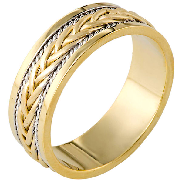 Item # 110181E - 18 kt two-tone hand made comfort fit Wedding Band 7.0 mm wide. There is a hand made braid in the center with one rope on each side of the braid. The center braid has a brush finish and the rest of the ring has a polished finish. Different finishes may be selected or specified.