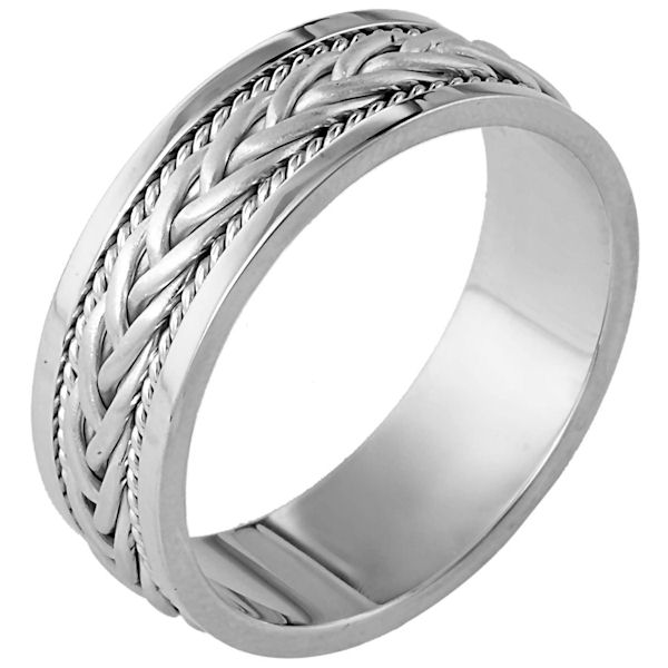 Item # 110181W - 14 kt white gold, hand made comfort fit Wedding Band 7.0 mm wide. There is a hand made braid in the center with one rope on each side of the braid. The center braid has a brush finish and the rest of the ring has a polished finish. Different finishes may be selected or specified.