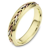 Item # 110191E - Tri-Color Wedding Band 18 kt Hand Made