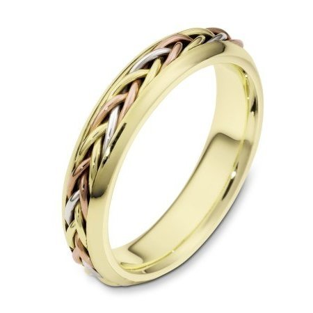 Item # 110191E - 18 kt tri-color hand made comfort fit Wedding Band 5.0 mm wide. The ring has a hand made braid that has a polished finish. The rest of the ring is polished. Different finishes may be selected or specified.
