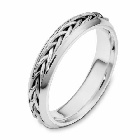 Item # 110191PP - Platinum hand made comfort fit Wedding Band 5.0 mm wide. The ring has a hand made braid that has a polished finish. The rest of the ring is polished. Different finishes may be selected or specified.