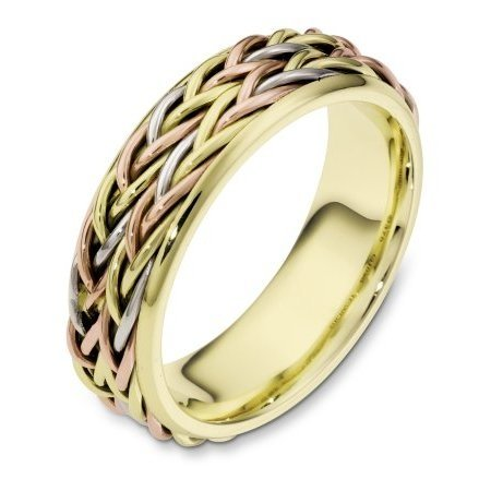 Item # 110201E - 18 kt tri-color hand made comfort fit Wedding Band 6.0 mm wide. The ring has two beautiful hand crafted braids in the center. The rest of the band is polished. Different finishes may be selected or specified.