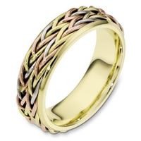Item # 110201E - Tri-Color Wedding Band 18 kt Hand Made