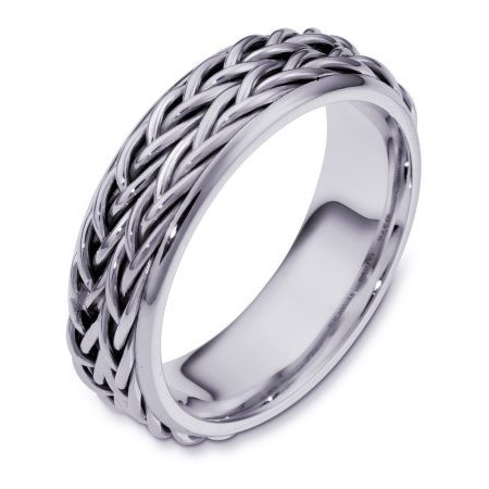 Item # 110201PD - Palladium, hand made comfort fit Wedding Band 6.0 mm wide. The ring has two beautiful hand crafted braids in the center. The rest of the band is polished. Different finishes may be selected or specified.
