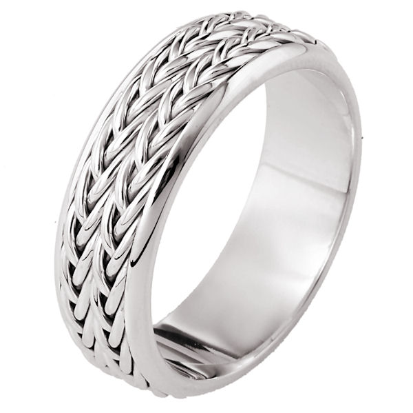 Item # 110211PP - Platinum hand made comfort fit Wedding Band 6.0 mm wide. The ring has two beautiful hand crafted braids in the center with a polished finish. The rest of the band is polished. Different finishes may be selected or specified.