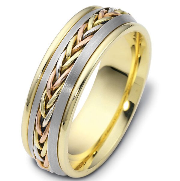 Item # 110221E - 18 kt tri-color hand made comfort fit Wedding Band 7.0mm wide. The ring has a hand made braid in the center with a polished finish. The gold pieces on each side of the braid is a brush finish and the rest of the band is polished. Different finishes may be selected or specified.