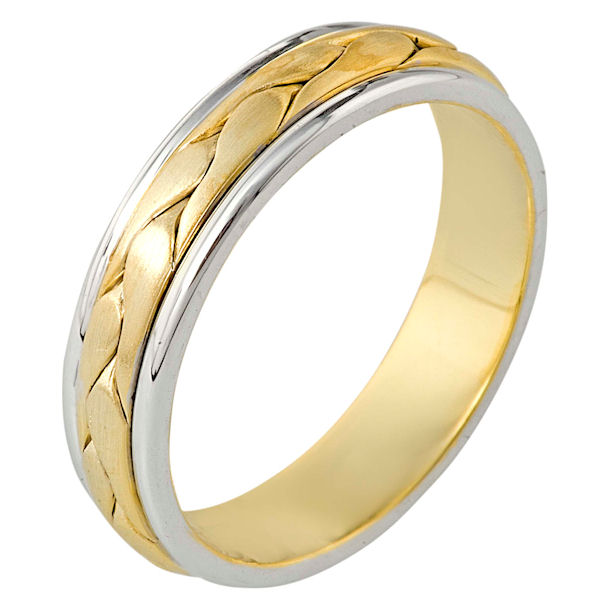 Item # 110251 - 14 kt two-tone hand made comfort fit Wedding Band 5.5 mm wide. There is a hand made braid in the center. It has a brush finish and the edges are polished. Different finishes may be selected or specified.