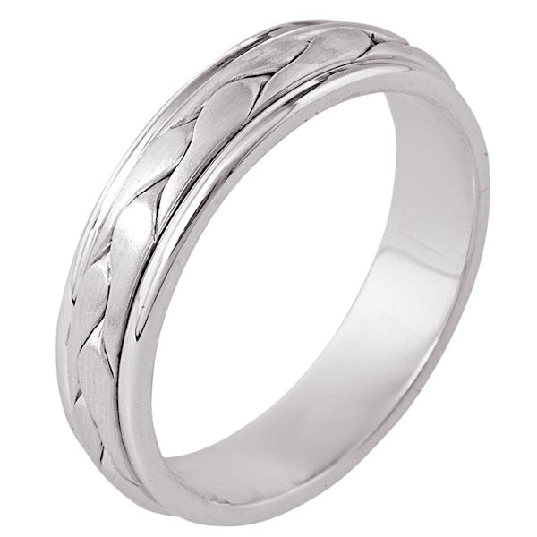 Item # 110251W - 14 kt white gold, hand made comfort fit Wedding Band 5.5 mm wide. There is a hand made braid in the center. It has a brush finish and the edges are polished. Different finishes may be selected or specified.