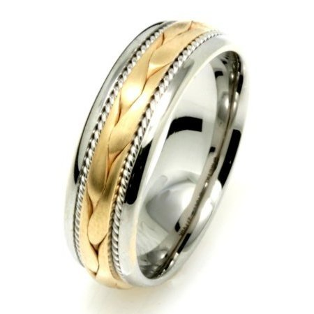 Item # 110261 - 14 K, two-tone gold, hand made , 6.5 mm wide, comfort fit wedding band. The ring has a hand crafted braid in the center with one hand made rope on each side of the braid. The center of the ring is a matte finish and the rest is polished. Different finishes may be selected or specified.