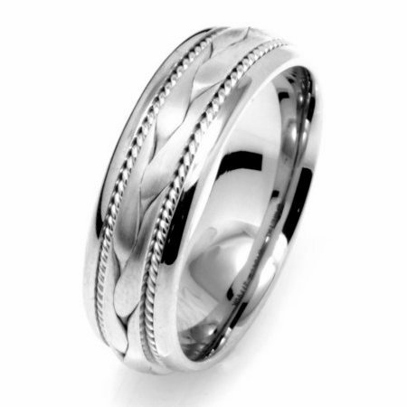 Item # 110261W - 14 kt white gold 6.5 mm braided Wedding Band. The ring has a hand crafted braid in the center with one hand made rope on each side of the braid. The center of the ring is a matte finish and the rest is polished. Different finishes may be selected or specified.