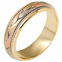 Item # 110271E - Tri-Color Wedding Band 18 kt Hand Made
