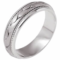 18K white Gold Hand Braided Wedding Ring